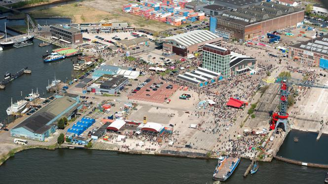 Koningsdag Amsterdam vanuit de lucht