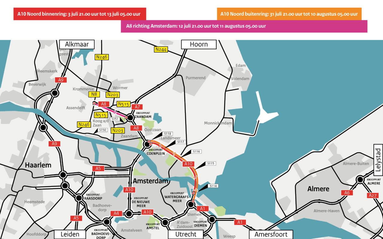 Deze zomer - A10 Noord en A8 afgesloten voor groot onderhoud klein