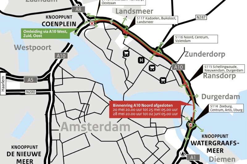 Omleidingskaartje A10 Noord binnenring afgesloten