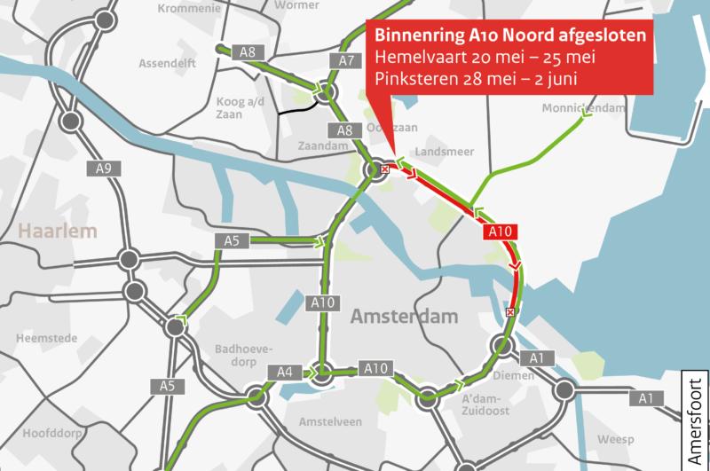 Omleidingskaartje A10 Noord binnenring afgesloten - uitgezoomd